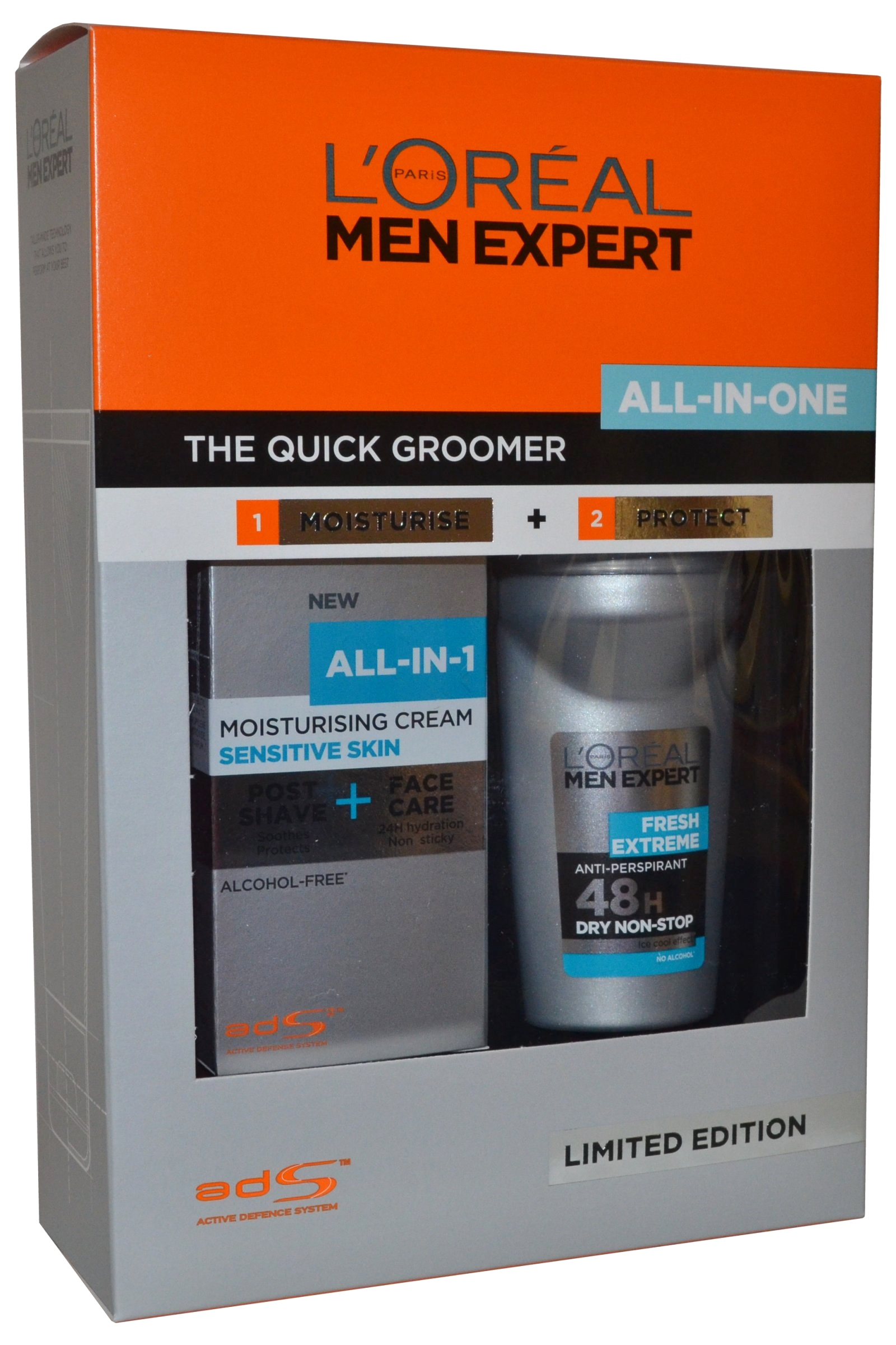 L Oreal Men Expert by L'Oreal The Quick Groomer All in One Set Moisturise Cream 75ml & Roll on Deo 50ml