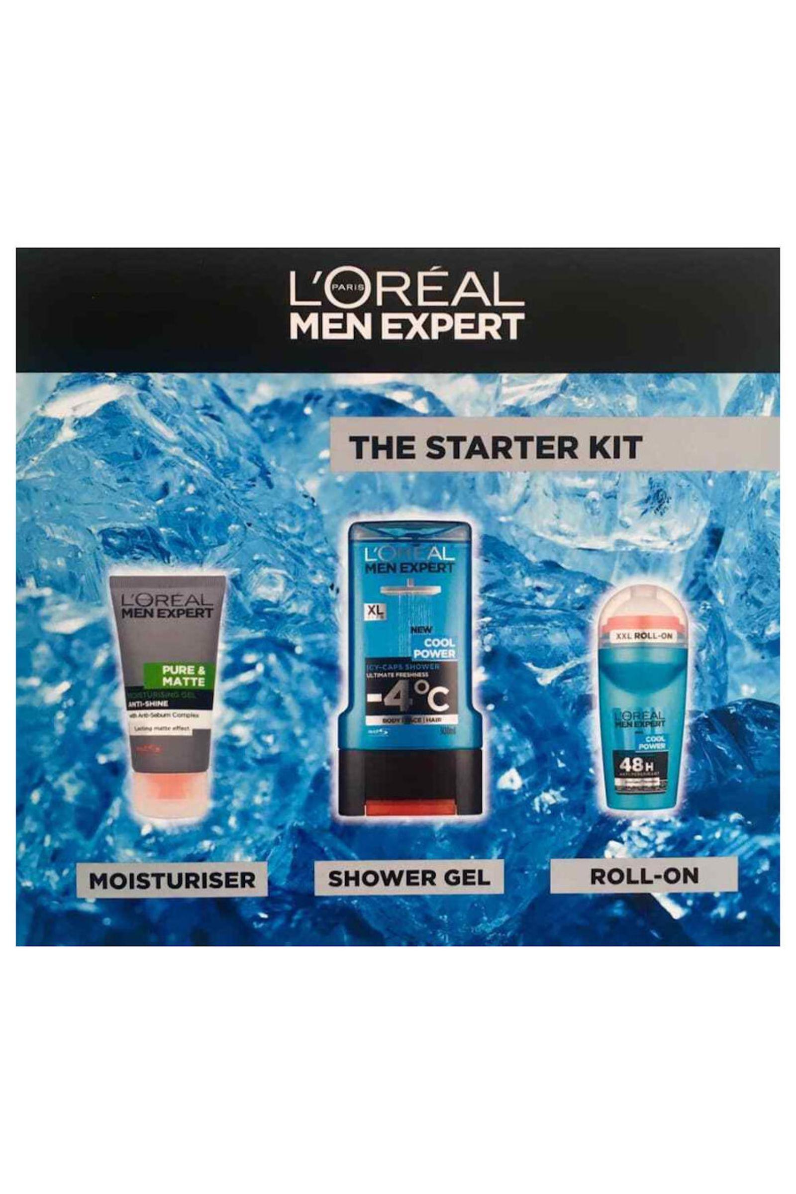 L Oreal Men Expert by L'Oreal The Starter Kit - Moisturising Gel  50ml Shower Gel 300ml, Roll on Deo 50ml