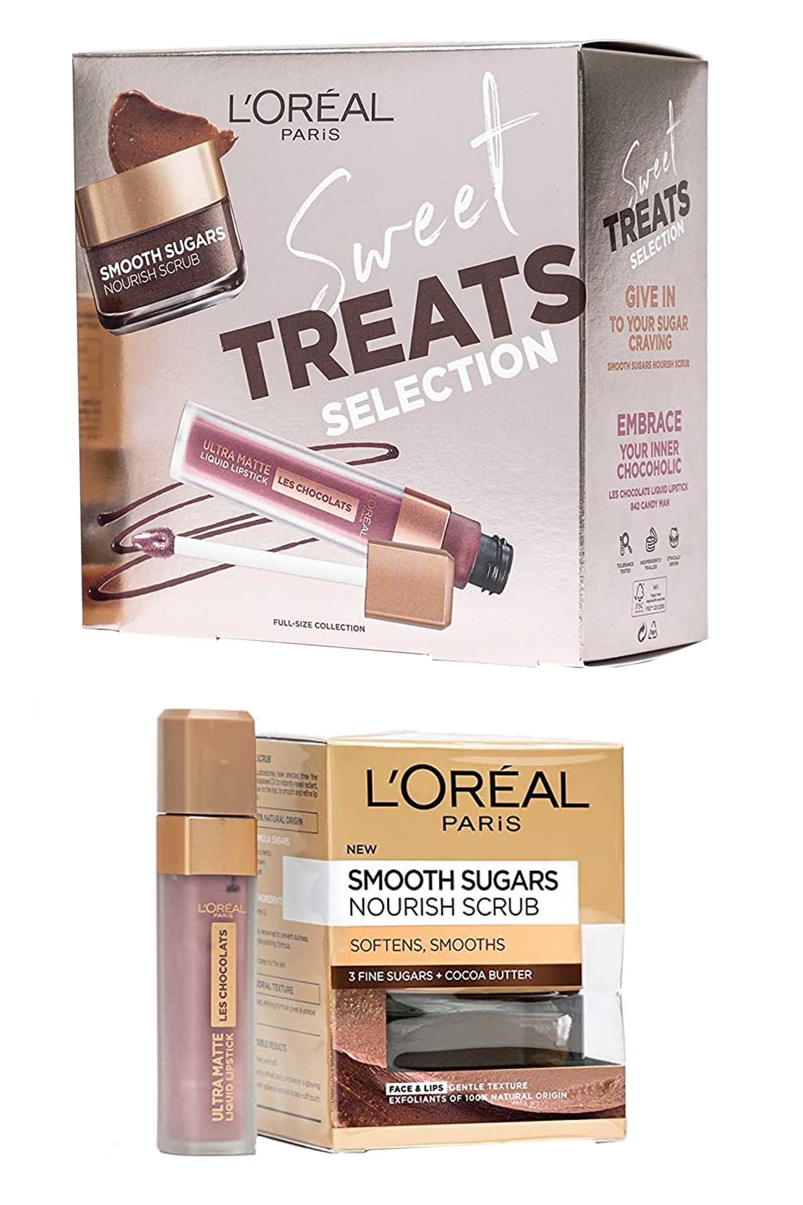 L Oreal L'Oreal Paris Sweet Treats Set-Lipstick Candy Man Smooth Sugars Nourish Scrub 50ml