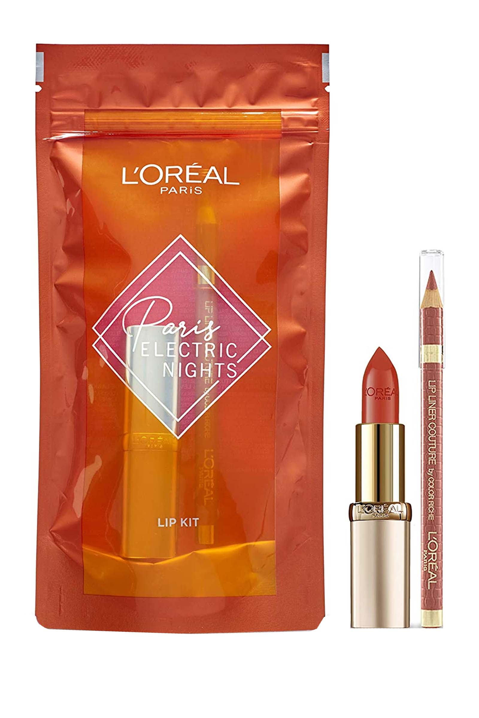 L Oreal L'Oreal Paris Paris Electric Nights Lip Kit- Lip Liner Color Riche Beige a Nu Lipstick